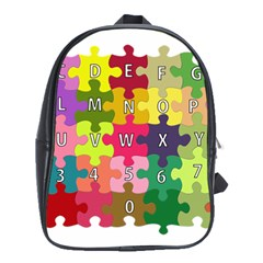Puzzle Part Letters Abc Education School Bag (xl) by Celenk