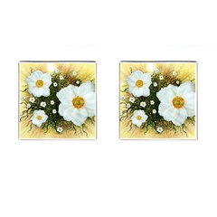 Summer Anemone Sylvestris Cufflinks (square) by Celenk