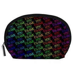 Thank You Font Colorful Word Color Accessory Pouches (large)  by Celenk