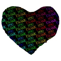 Thank You Font Colorful Word Color Large 19  Premium Flano Heart Shape Cushions by Celenk