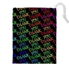 Thank You Font Colorful Word Color Drawstring Pouches (xxl)