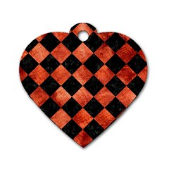 Square2 Black Marble & Copper Paint Dog Tag Heart (one Side) by trendistuff