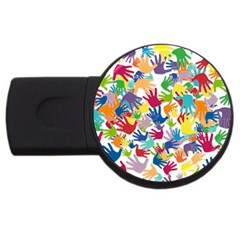 Volunteers Hands Voluntary Wrap Usb Flash Drive Round (4 Gb) by Celenk