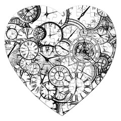 Time Clock Watches Time Of Jigsaw Puzzle (heart) by Celenk