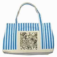 Time Clock Watches Time Of Striped Blue Tote Bag by Celenk