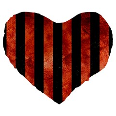 Stripes1 Black Marble & Copper Paint Large 19  Premium Flano Heart Shape Cushions by trendistuff