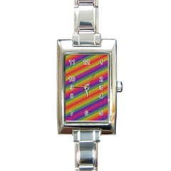 Spectrum Psychedelic Green Rectangle Italian Charm Watch
