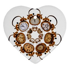 Time Clock Alarm Clock Time Of Ornament (heart) by Celenk