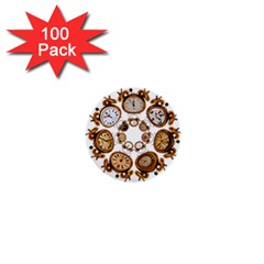 Time Clock Alarm Clock Time Of 1  Mini Buttons (100 Pack)  by Celenk