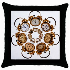 Time Clock Alarm Clock Time Of Throw Pillow Case (black) by Celenk