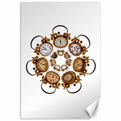 Time Clock Alarm Clock Time Of Canvas 12  X 18   by Celenk