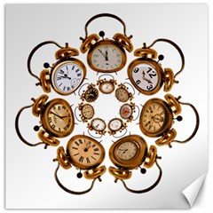 Time Clock Alarm Clock Time Of Canvas 16  X 16   by Celenk