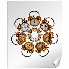 Time Clock Alarm Clock Time Of Canvas 11  X 14   by Celenk