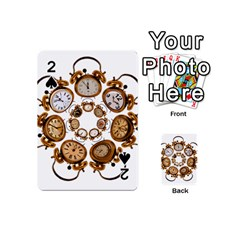 Time Clock Alarm Clock Time Of Playing Cards 54 (mini)  by Celenk