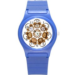 Time Clock Alarm Clock Time Of Round Plastic Sport Watch (s)