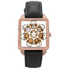 Time Clock Alarm Clock Time Of Rose Gold Leather Watch