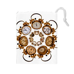 Time Clock Alarm Clock Time Of Drawstring Pouches (large)