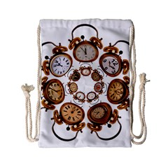 Time Clock Alarm Clock Time Of Drawstring Bag (small) by Celenk