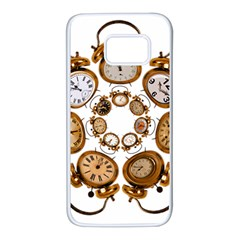 Time Clock Alarm Clock Time Of Samsung Galaxy S7 White Seamless Case by Celenk