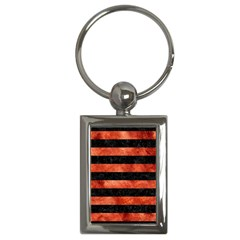 Stripes2 Black Marble & Copper Paint Key Chains (rectangle)  by trendistuff