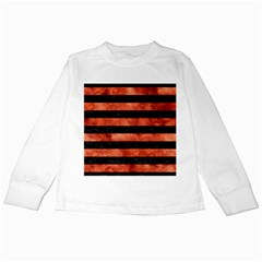 Stripes2 Black Marble & Copper Paint Kids Long Sleeve T Shirts