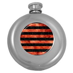 Stripes2 Black Marble & Copper Paint Round Hip Flask (5 Oz)