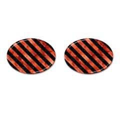 Stripes3 Black Marble & Copper Paint Cufflinks (oval) by trendistuff