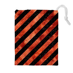 Stripes3 Black Marble & Copper Paint (r) Drawstring Pouches (extra Large) by trendistuff