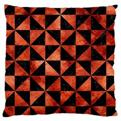 Triangle1 Black Marble & Copper Paint Large Cushion Case (one Side) by trendistuff