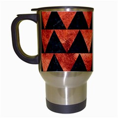 Triangle2 Black Marble & Copper Paint Travel Mugs (white) by trendistuff
