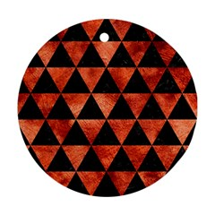 Triangle3 Black Marble & Copper Paint Round Ornament (two Sides) by trendistuff