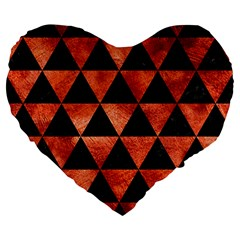 Triangle3 Black Marble & Copper Paint Large 19  Premium Flano Heart Shape Cushions by trendistuff