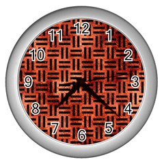 Woven1 Black Marble & Copper Paint Wall Clocks (silver)  by trendistuff