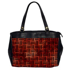 Woven1 Black Marble & Copper Paint Office Handbags by trendistuff