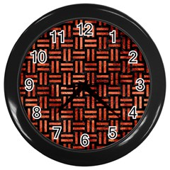 Woven1 Black Marble & Copper Paint (r) Wall Clocks (black) by trendistuff