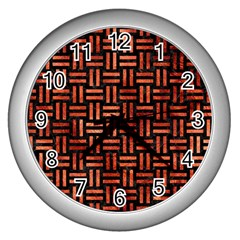 Woven1 Black Marble & Copper Paint (r) Wall Clocks (silver)  by trendistuff