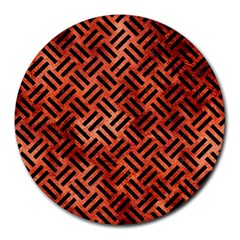 Woven2 Black Marble & Copper Paint Round Mousepads