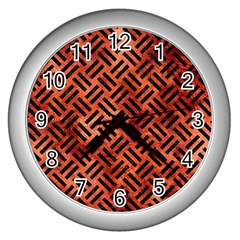 Woven2 Black Marble & Copper Paint Wall Clocks (silver)  by trendistuff