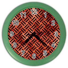 Woven2 Black Marble & Copper Paint Color Wall Clocks by trendistuff