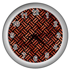 Woven2 Black Marble & Copper Paint (r) Wall Clocks (silver)  by trendistuff
