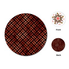 Woven2 Black Marble & Copper Paint (r) Playing Cards (round)  by trendistuff