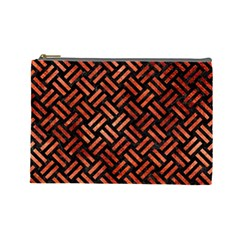 Woven2 Black Marble & Copper Paint (r) Cosmetic Bag (large)  by trendistuff