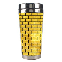 Brick1 Black Marble & Gold Paint Stainless Steel Travel Tumblers by trendistuff