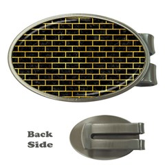 Brick1 Black Marble & Gold Paint (r) Money Clips (oval)  by trendistuff