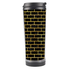 Brick1 Black Marble & Gold Paint (r) Travel Tumbler by trendistuff