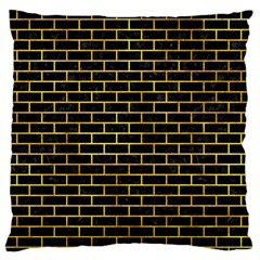 Brick1 Black Marble & Gold Paint (r) Large Flano Cushion Case (one Side) by trendistuff