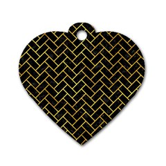 Brick2 Black Marble & Gold Paint (r) Dog Tag Heart (two Sides) by trendistuff