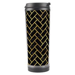 Brick2 Black Marble & Gold Paint (r) Travel Tumbler by trendistuff