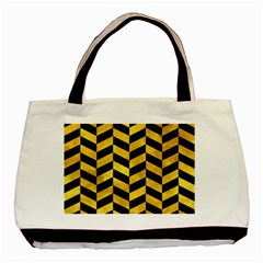 Chevron1 Black Marble & Gold Paint Basic Tote Bag by trendistuff