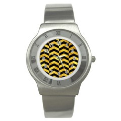 Chevron2 Black Marble & Gold Paint Stainless Steel Watch by trendistuff